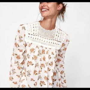 Zara White Floral Embroidered Smock Top